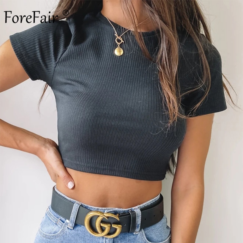 Ribbed Cropped Fitted Tee 6