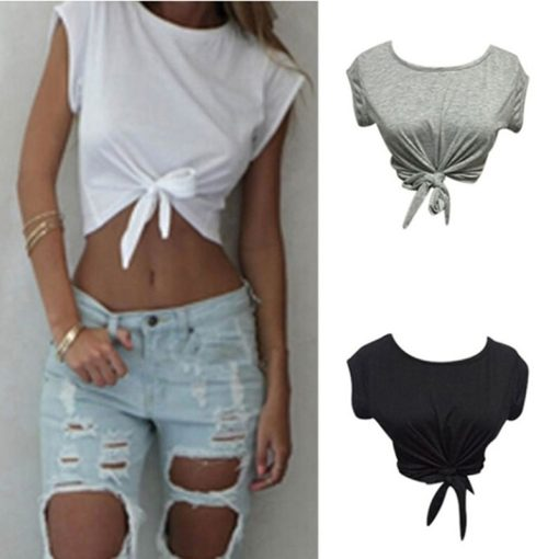 Knotted Tie Front Crop Top 1