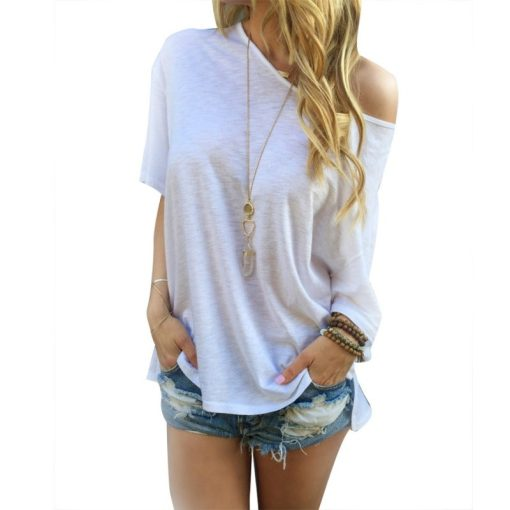 Sexy Women Casual Solid Off Shoulder Loose T-shirts Off-Shoulder Tops Hot 11