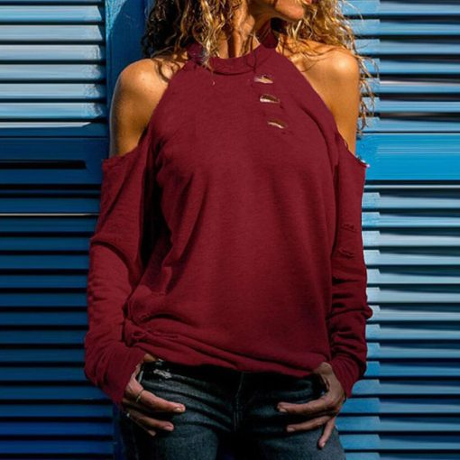 Distressed Cold Shoulder Tee 3