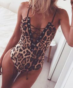 Leopard Lace Up Bodysuit