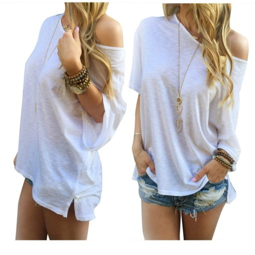 Sexy Women Casual Solid Off Shoulder Loose T-shirts Off-Shoulder Tops Hot 9