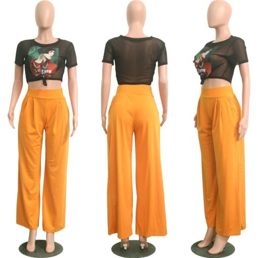Women Casual Loose Palazzo Pants Autumn High Waisted Wide Leg Trousers Pleated Long Culottes Pants Elastic Waist Trouser Pockets 4