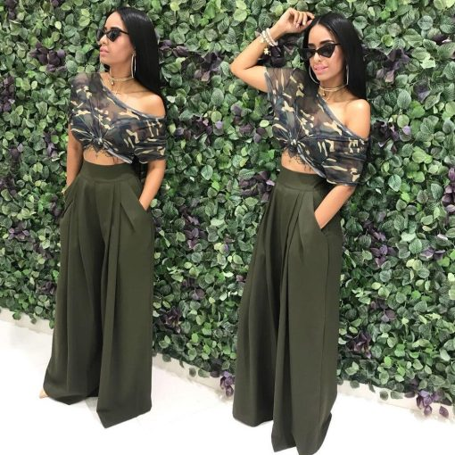 Women Casual Loose Palazzo Pants Autumn High Waisted Wide Leg Trousers Pleated Long Culottes Pants Elastic Waist Trouser Pockets 3