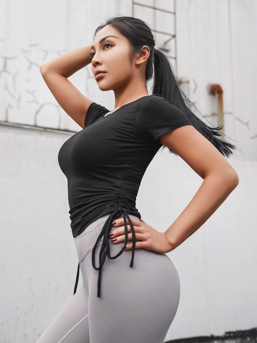 Side Tie Cropped Fitness Top