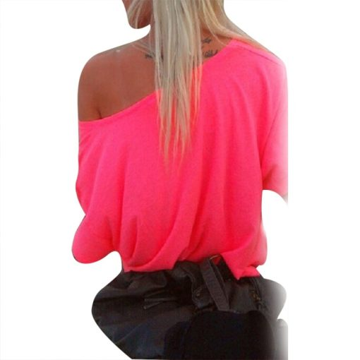 Sexy Women Casual Solid Off Shoulder Loose T-shirts Off-Shoulder Tops Hot 8