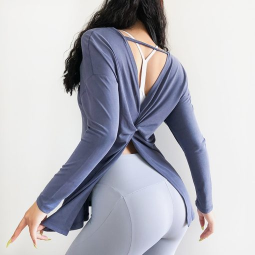 Relaxed Cutout Back Long Sleeve Top