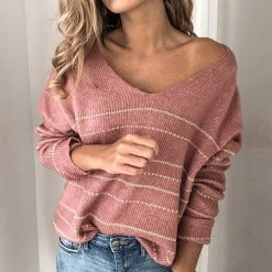Loose V-Neck Knit Sweater 1