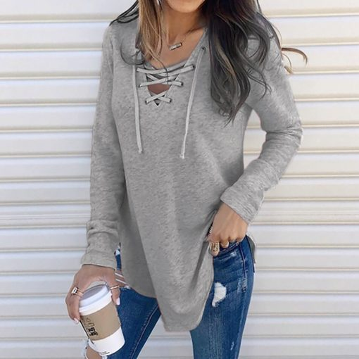 V-Neck Lace Up Long Sleeve Shirt 2