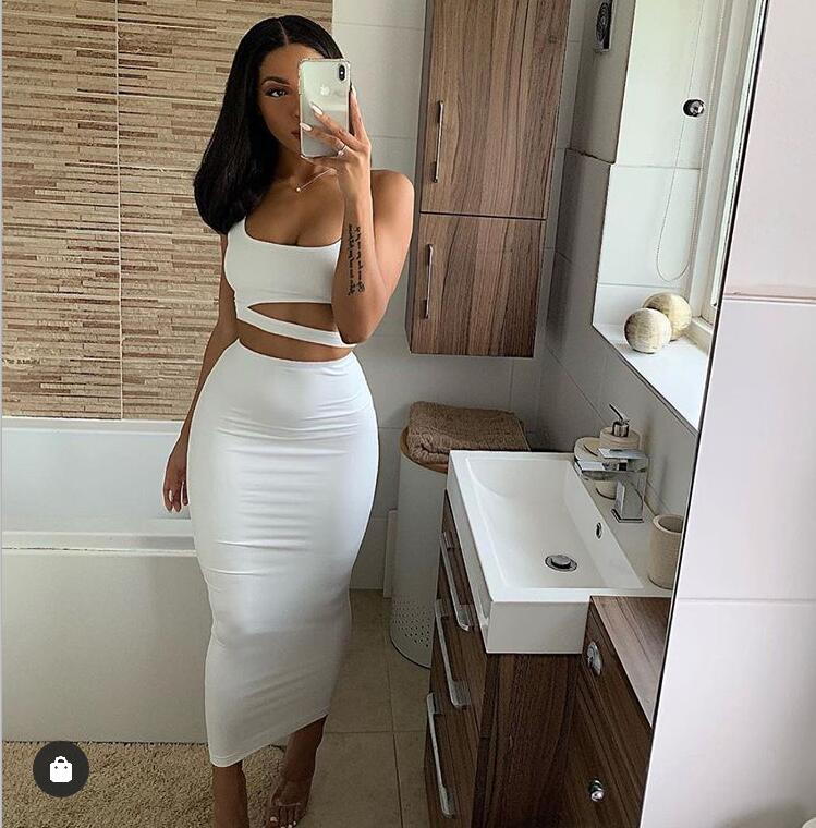 Women Summer Fashion 2020 2Pcs Set Crop Top Sexy Hollow Out Buttock Skirts Green Orange Two Piece Outfits Sexy Sets Ladies Wear 13