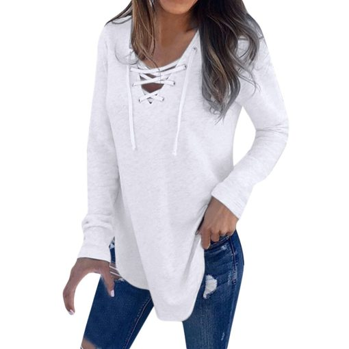 V-Neck Lace Up Long Sleeve Shirt 1