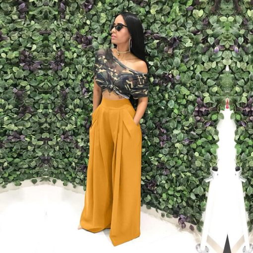 Women Casual Loose Palazzo Pants Autumn High Waisted Wide Leg Trousers Pleated Long Culottes Pants Elastic Waist Trouser Pockets 2