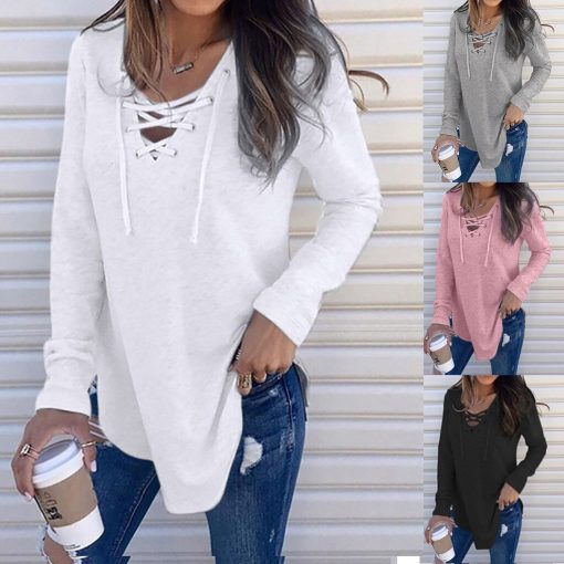 V-Neck Lace Up Long Sleeve Shirt 4