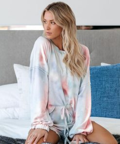 Cotton Candy Tie Dye Knit Pajamas Short Set 7