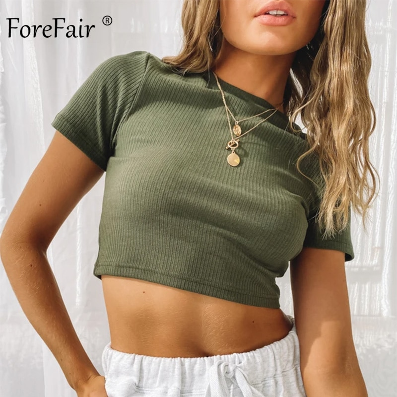 Ribbed Cropped Fitted Tee 5