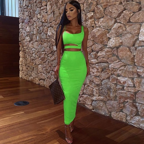 Women Summer Fashion 2020 2Pcs Set Crop Top Sexy Hollow Out Buttock Skirts Green Orange Two Piece Outfits Sexy Sets Ladies Wear 1