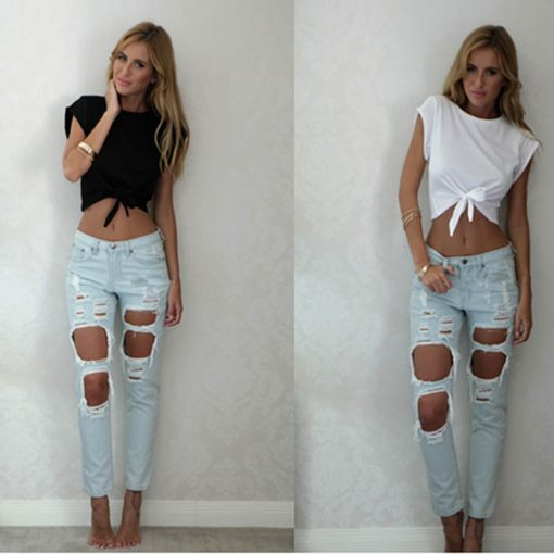 Knotted Tie Front Crop Top 6