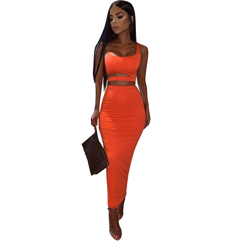 Women Summer Fashion 2020 2Pcs Set Crop Top Sexy Hollow Out Buttock Skirts Green Orange Two Piece Outfits Sexy Sets Ladies Wear 7