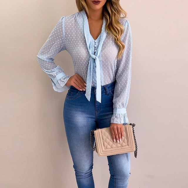 Chiffon Buttoned Long Sleeve Top 3