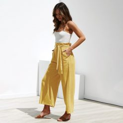 High Waisted Wide Leg Capri Pants 10