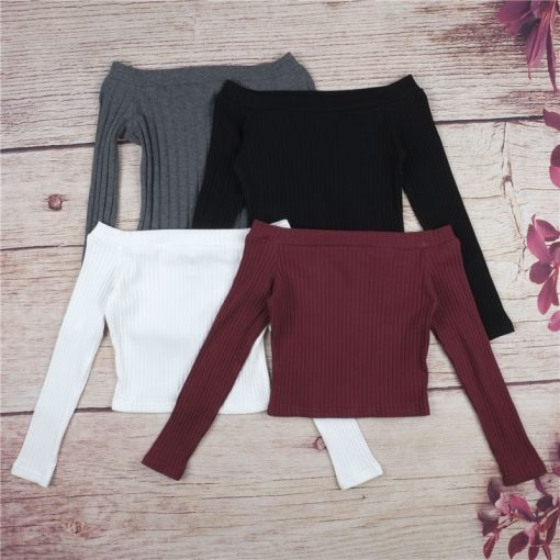 Off Shoulder Long Sleeve Cropped Top 6