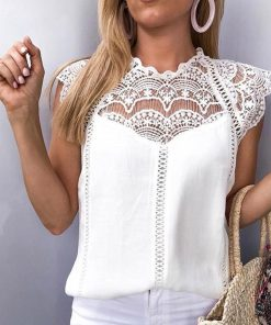 Lace Hollow Out Chiffon Top