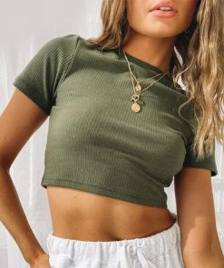 Ribbed Cropped Fitted Tee