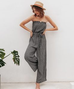 Pin Stripe Strapless Jumpsuit