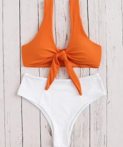 Tie Front High Waisted Bikini 7