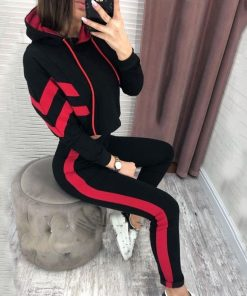 Cropped Striped Track Suit