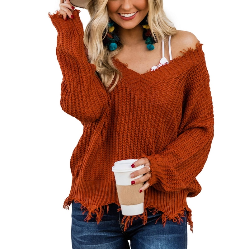 Off the Shoulder Distressed Sweater 16