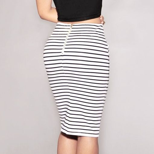Striped Front Tie Pencil Skirt