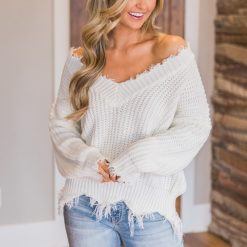 Off the Shoulder Distressed Sweater 2