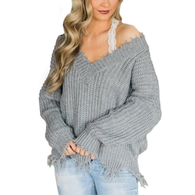 Off the Shoulder Distressed Sweater 11