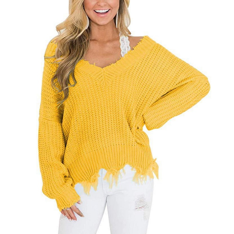 Off the Shoulder Distressed Sweater 15