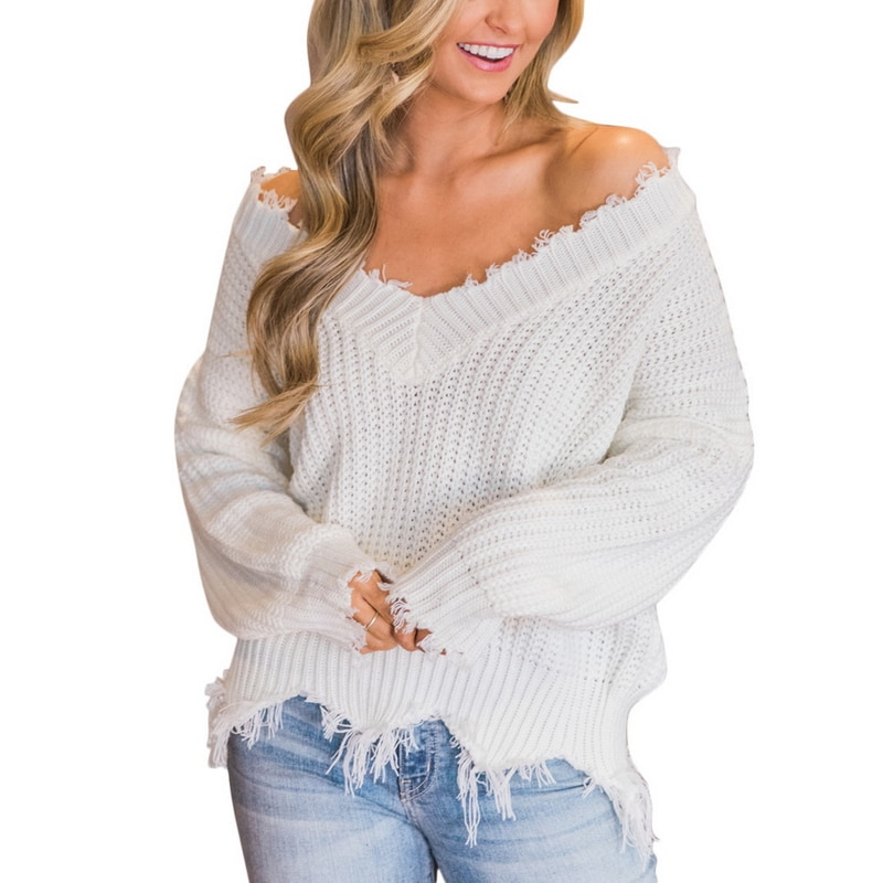 Off the Shoulder Distressed Sweater 14