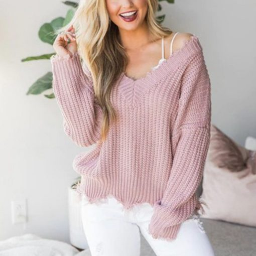 Off the Shoulder Distressed Sweater 3