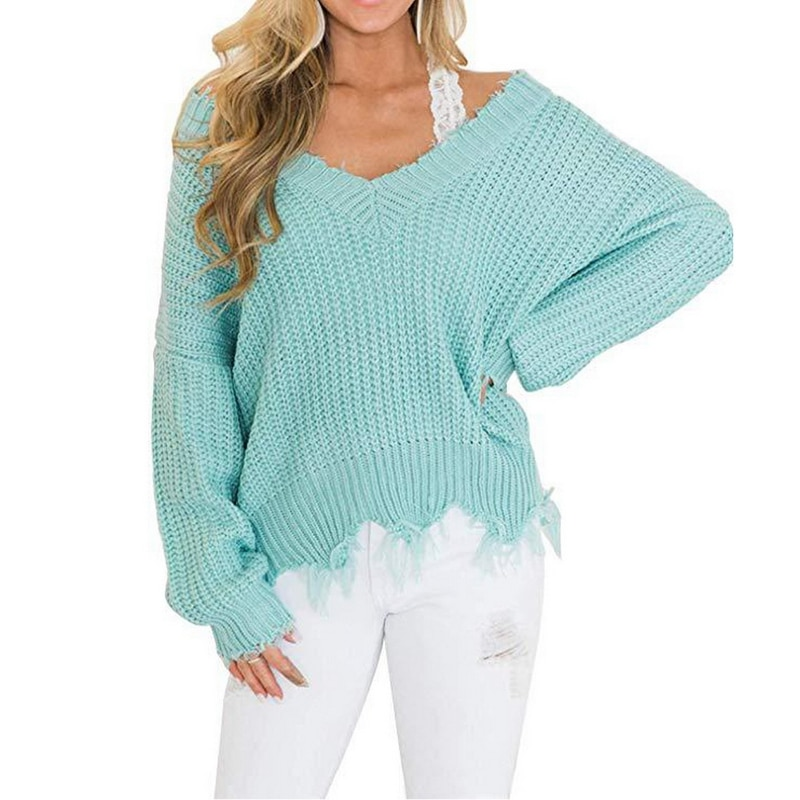 Off the Shoulder Distressed Sweater 8