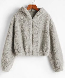 Plush Zip Up Faux Fur Hoodie