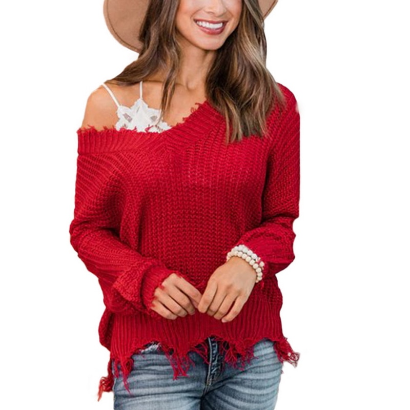 Off the Shoulder Distressed Sweater 12