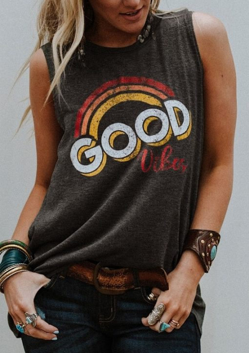 Good Vibes Sleeveless Muscle Tee 1