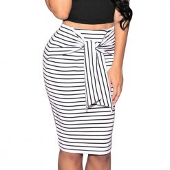 Striped Tie Pencil Skirt 3