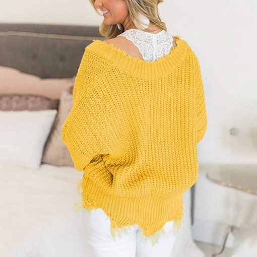 Off the Shoulder Distressed Sweater 5