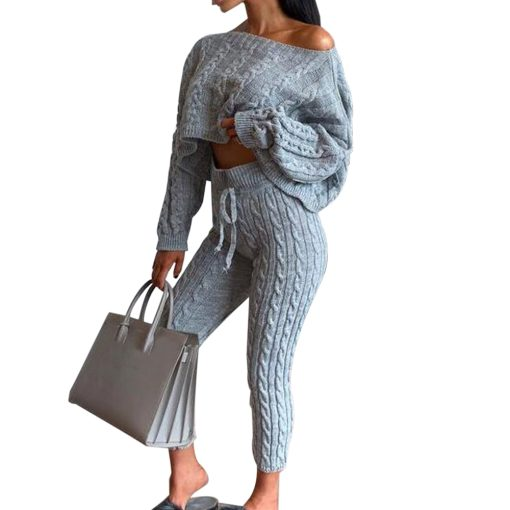 Knit Loungewear Cropped Set 4
