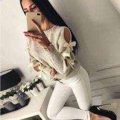 Hollowed Out Long Sleeve Bow Sweater