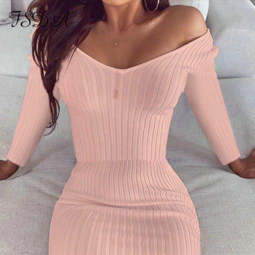 Long Sleeve Casual V Neck Bodycon Dress 3