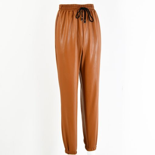 Faux Leather Drawstring Joggers  4