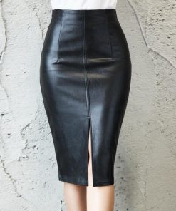 Leather Pencil Slit Skirt 2