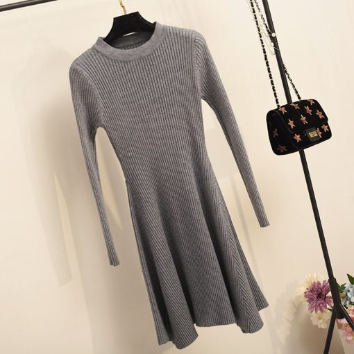 Long Sleeve Asymmetrical Hem Sweater Dress 4