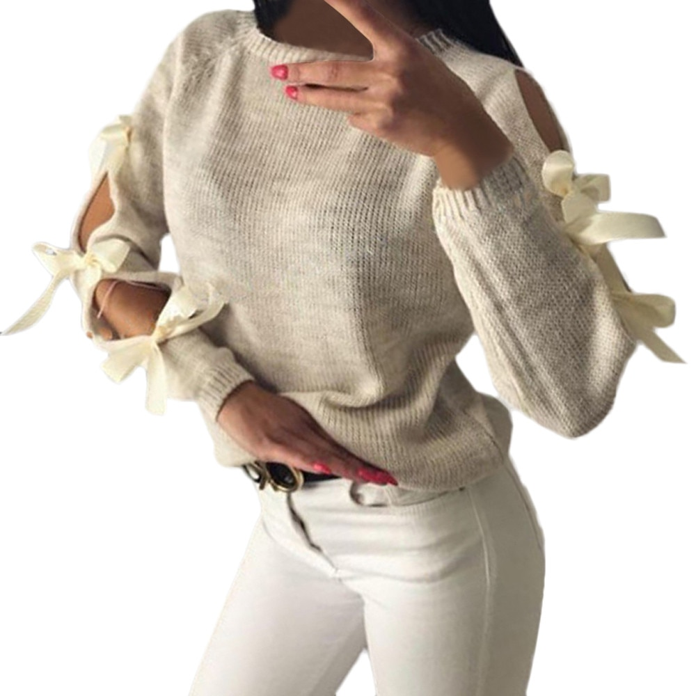Hollow Out Bow Sweater 7